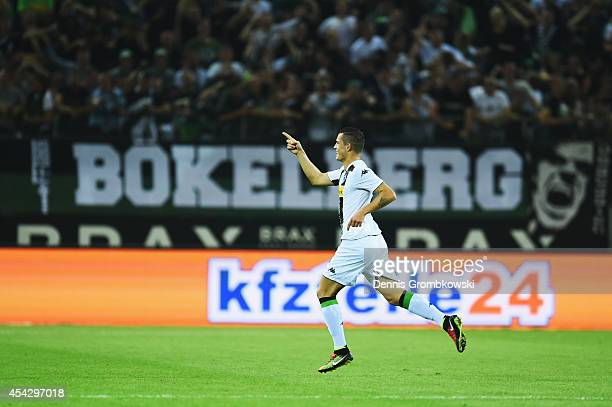 Granit Xhaka of Borussia Moenchengladbach celebrates the second goal during the UEFA Europa League Qualifying PlayOffs Round second leg match between...