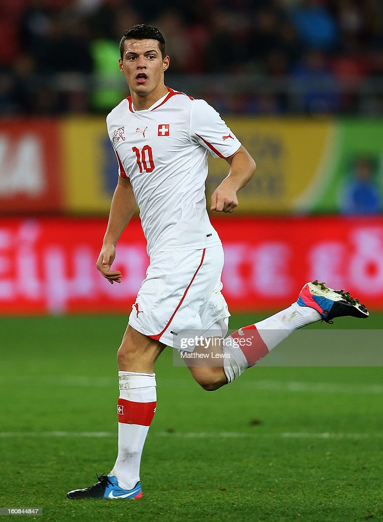 Granit Xhaka of Switzerland in action during the International Friendly match between Greece and Switzerland at Karaiskakis Stadium on February 6, 2013 in Athens, Greece.