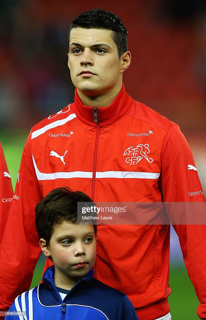 Granit Xhaka of Switzerland lines up ahead of the International Friendly match between Greece and Switzerland at Karaiskakis Stadium on February 6, 2013 in Athens, Greece.