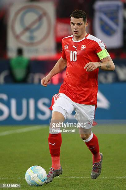 Granit Xhaka of Switzerland runs with the ball during the international friendly match between Switzerland and BosniaHerzegovina at Stadium...