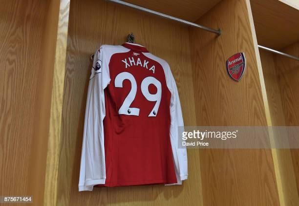 Granit Xhaka's Arsenal shirt in the changingroom before the Premier League match between Arsenal and Tottenham Hotspur at Emirates Stadium on...