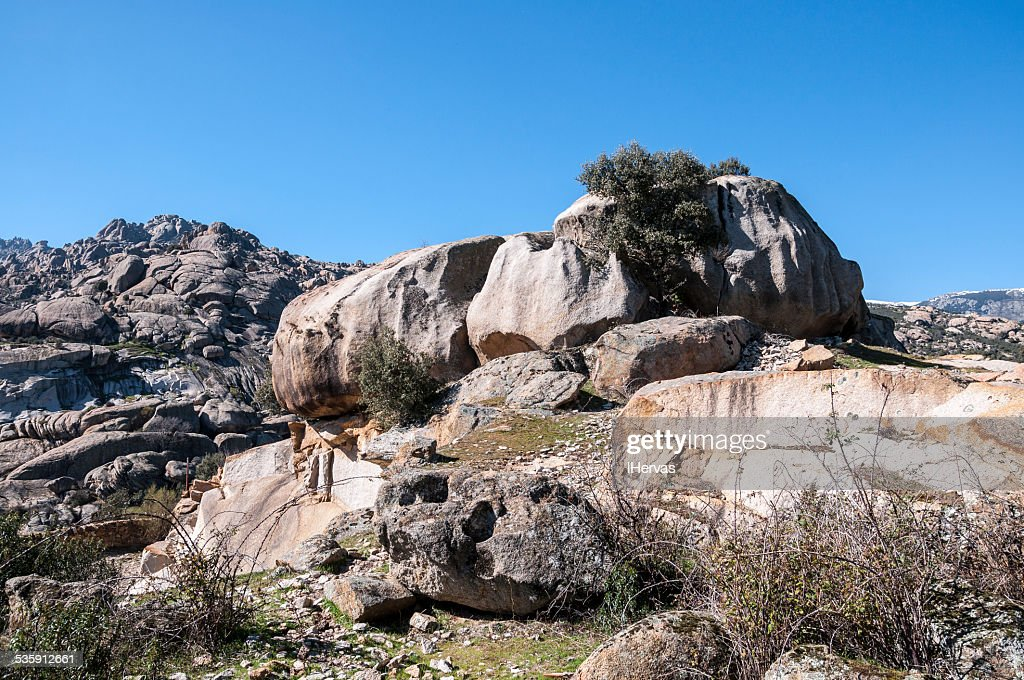 Granite boulders in Hueco de San Blas : Stock Photo