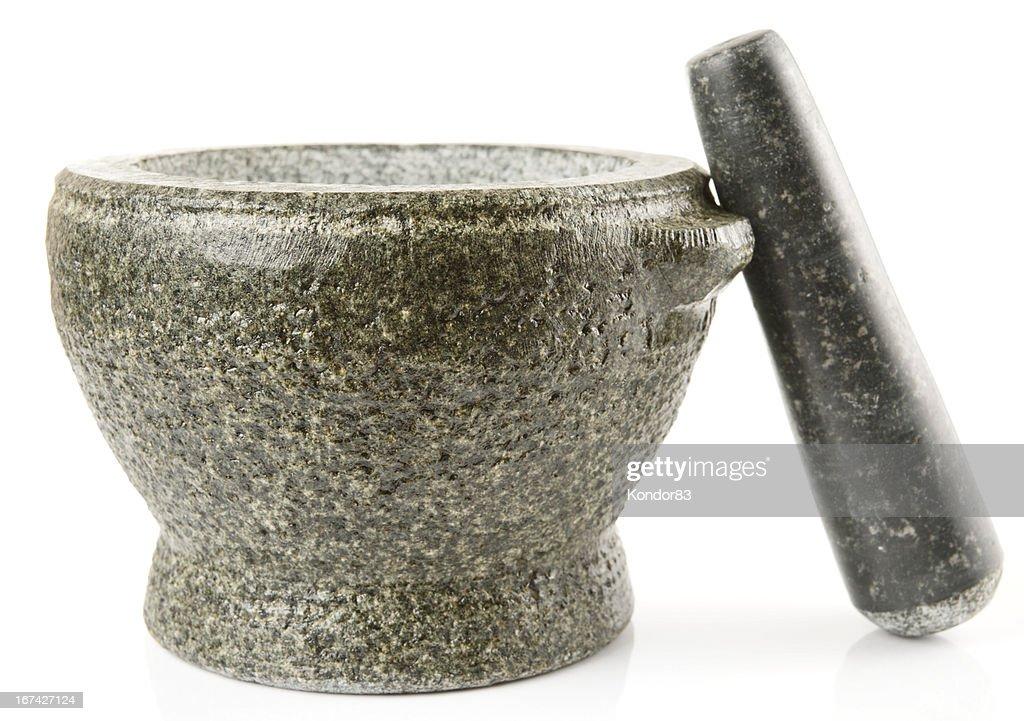 Granito Pilão utilizado para fazer molhos, isolado : Foto de stock