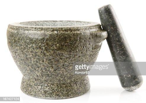Mortero de granito para hacer salsas, aislado : Foto de stock