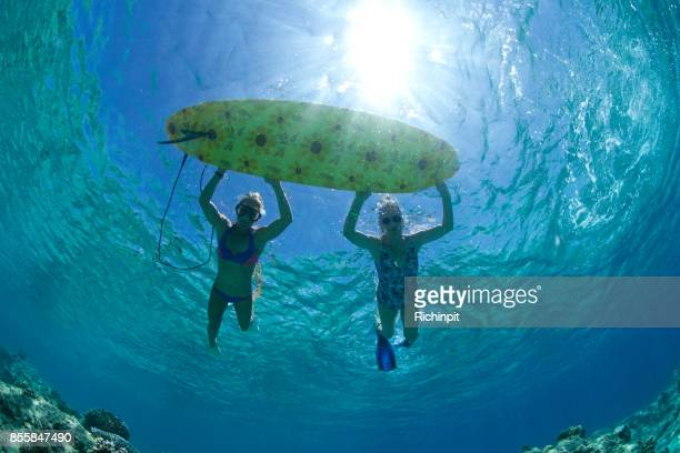 Granny and me go surf snorkleing