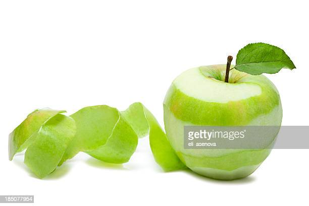 Granny Smith apple peeled in a swirl