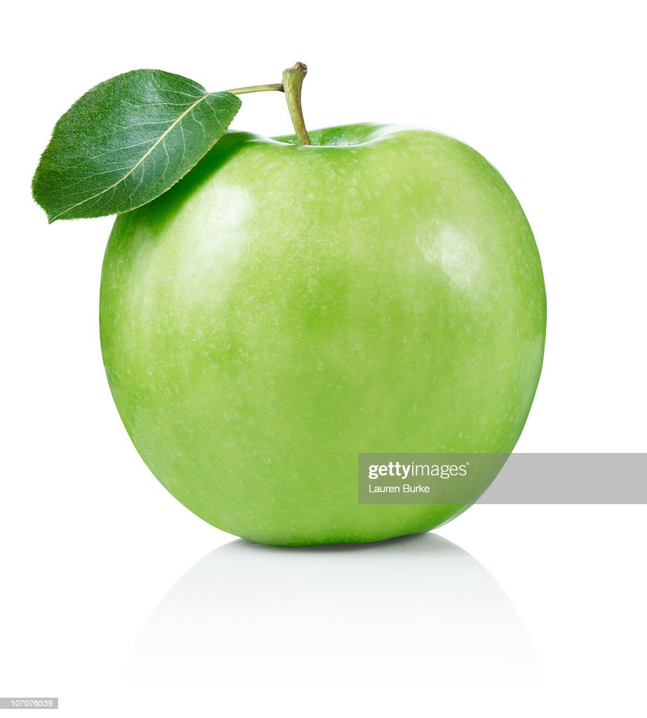 Granny Smith Apple with Leaf : Stock Photo