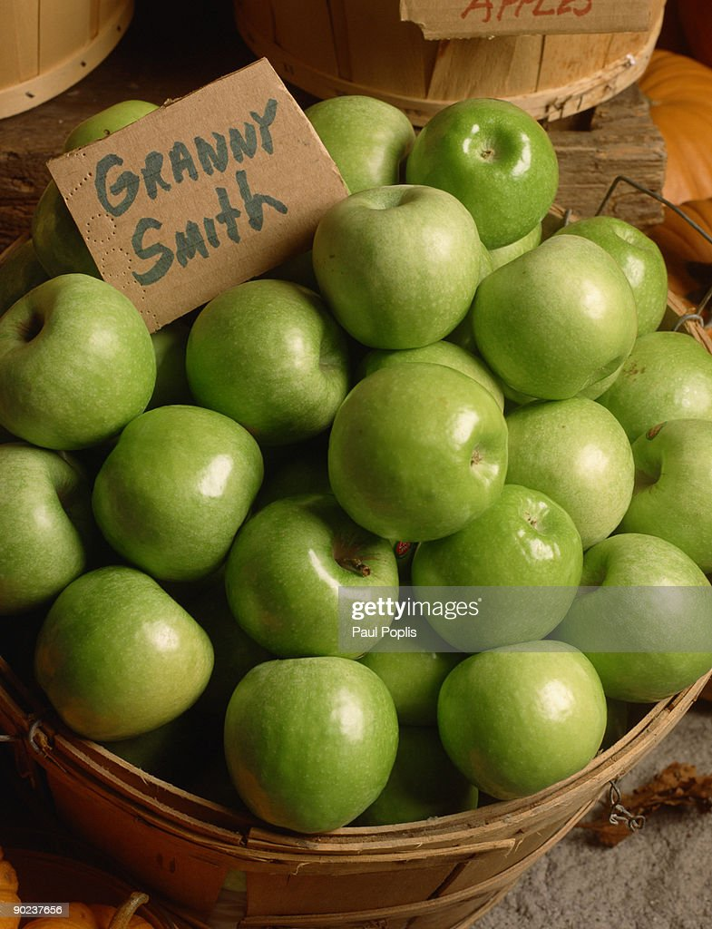 Granny smith apples in basket