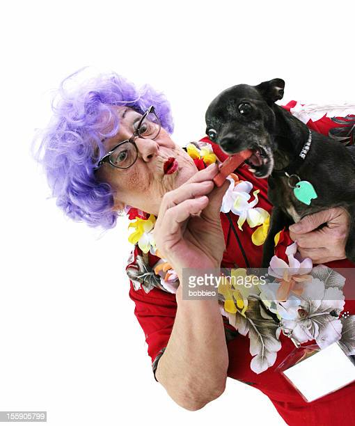 Granny Whack Series: Tourist feeding dog