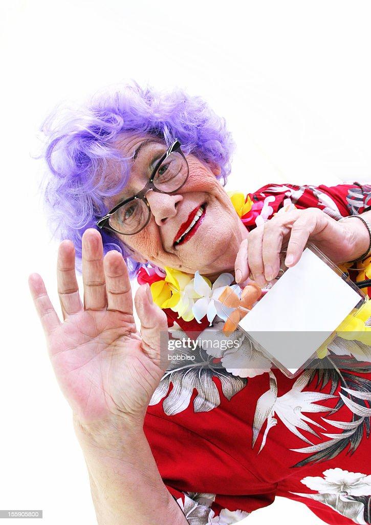Granny Whack Series: Tourist with name tag waving