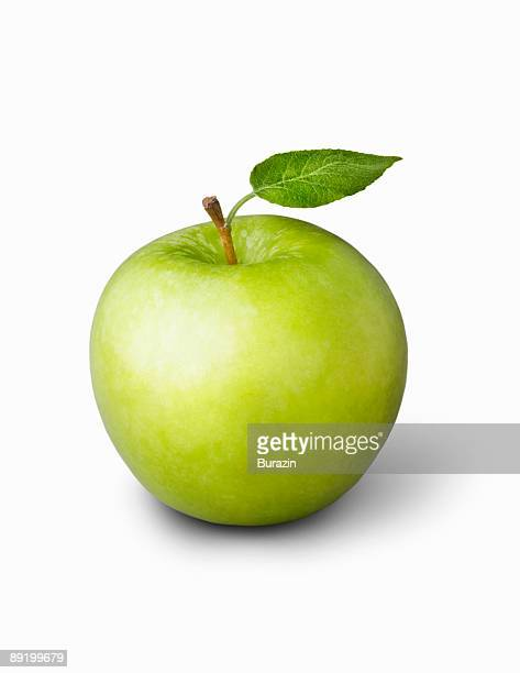 Grannysmith Apple with green leaf