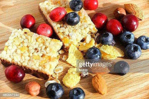Granola Bars with Cranberries, Almonds and Raisins : Stock Photo