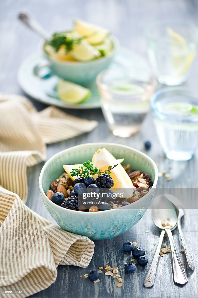 Granola for breakfast : Stock Photo