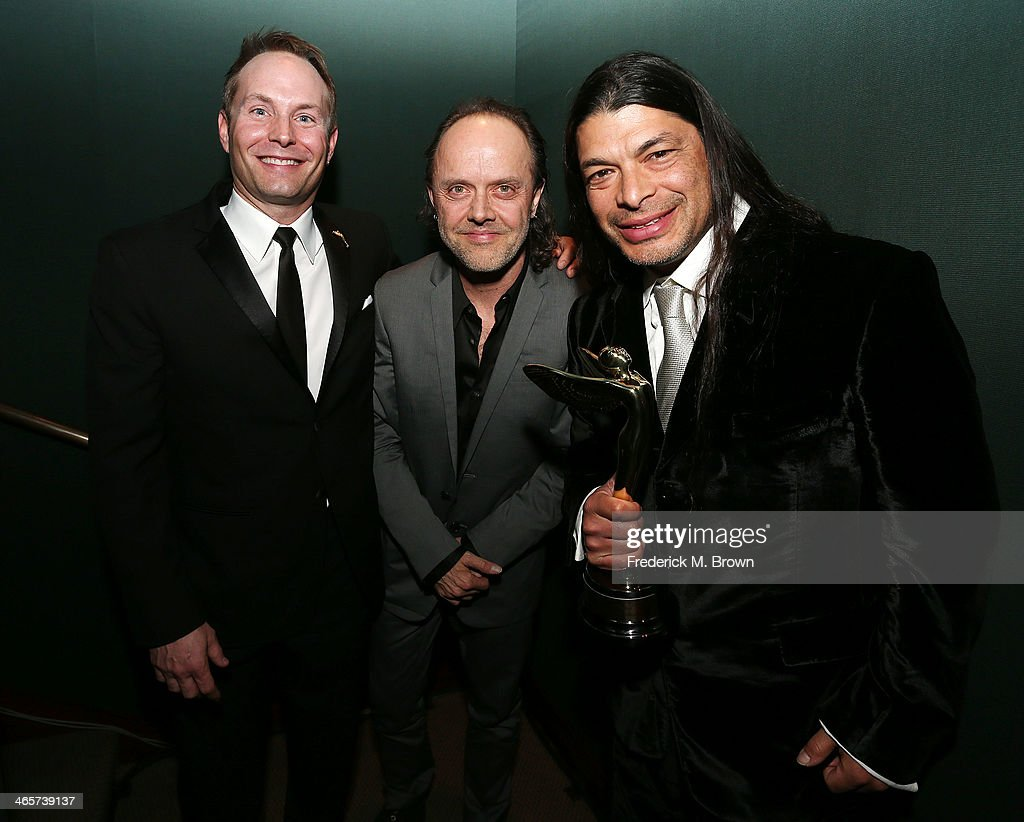 Grant Anderson, <a gi-track='captionPersonalityLinkClicked' href=/galleries/search?phrase=Lars+Ulrich&family=editorial&specificpeople=209281 ng-click='$event.stopPropagation()'>Lars Ulrich</a> and <a gi-track='captionPersonalityLinkClicked' href=/galleries/search?phrase=Robert+Trujillo&family=editorial&specificpeople=213071 ng-click='$event.stopPropagation()'>Robert Trujillo</a> are being honored during the 2014 International 3D and Advanced Imaging Society's Creative Arts Awards at the Steven J. Ross Theatre, Warner Bros. Studios on January 28, 2014 in Burbank, California.