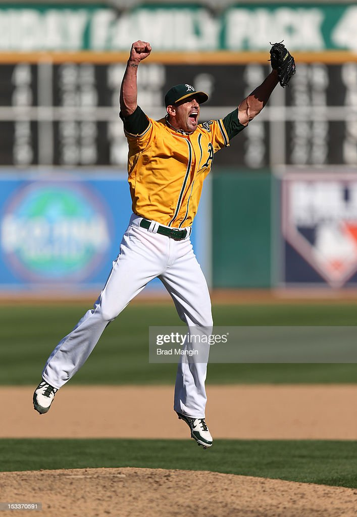 Grant Balfour #50 of the Oakland Athletics celebrates after defeating the Texas Rangers to clinch the AL West Division title on Wednesday, October 3, 2012 at The Coliseum in Oakland, California.