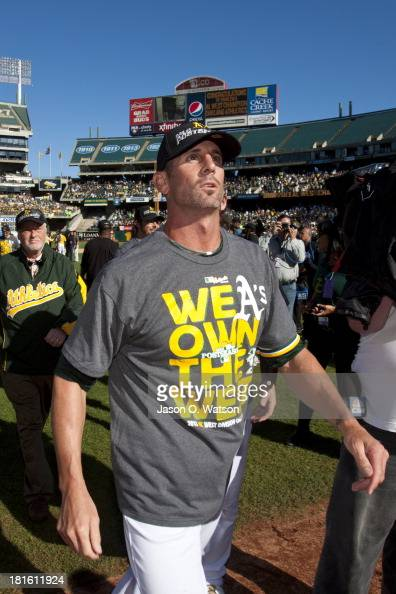 Grant Balfour of the Oakland Athletics celebrates after the game against the Minnesota Twins at Oco Coliseum on September 22 2013 in Oakland...