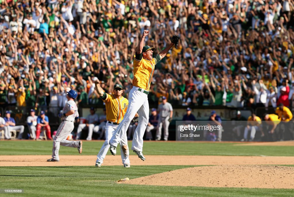 Grant Balfour #50 of the Oakland Athletics celebrates after the Oakland Athletics beat the Texas Rangers at O.co Coliseum on October 3, 2012 in Oakland, California.