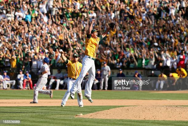 Grant Balfour of the Oakland Athletics celebrates after the Oakland Athletics beat the Texas Rangers at Oco Coliseum on October 3 2012 in Oakland...