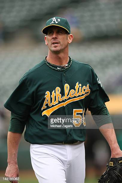 Grant Balfour of the Oakland Athletics heads to the dugout during the game against the Kansas City Royals at the OaklandAlameda County Coliseum on...