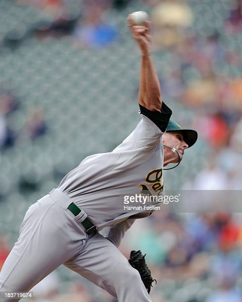 Grant Balfour of the Oakland Athletics pitches against the Minnesota Twins during the game on September 12 2013 at Target Field in Minneapolis...