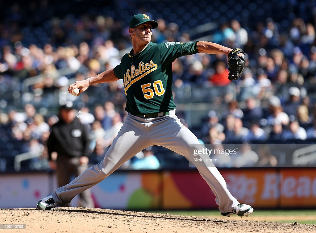 Grant Balfour #50 of the Oakland Athletics pitches against the New York Yankees at Yankee Stadium on May 5, 2013 in the Bronx borough of New York City.