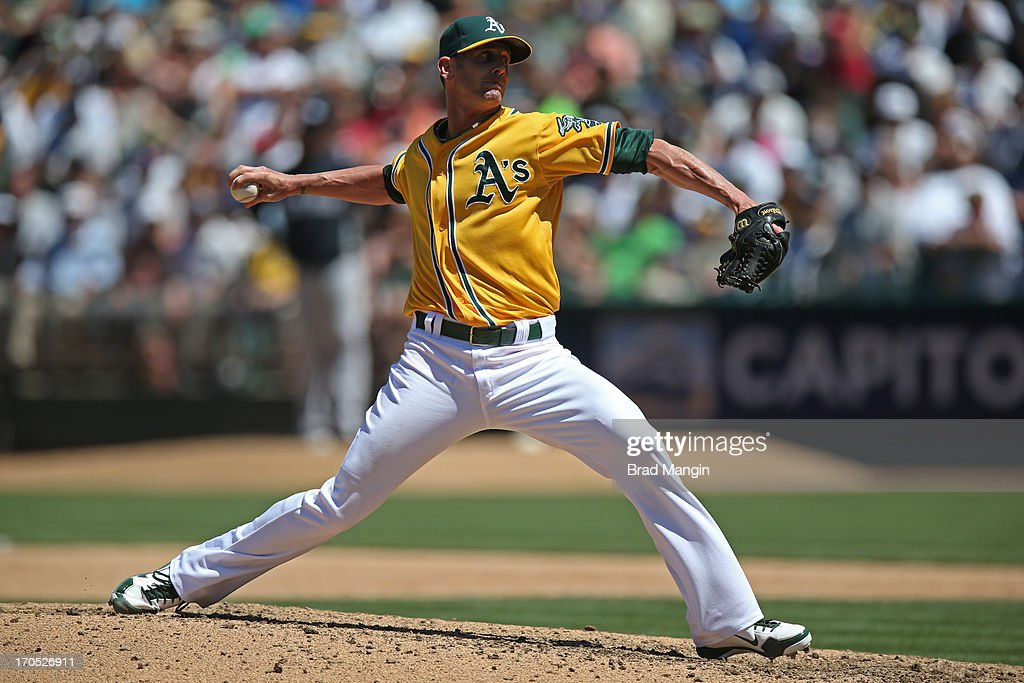 Grant Balfour #50 of the Oakland Athletics pitches against the New York Yankees during the game at O.co Coliseum on Thursday June 13, 2013 in Oakland, California.