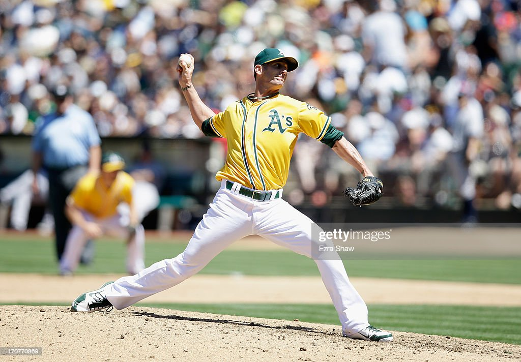 Grant Balfour #50 of the Oakland Athletics pitches against the New York Yankees at O.co Coliseum on June 13, 2013 in Oakland, California.