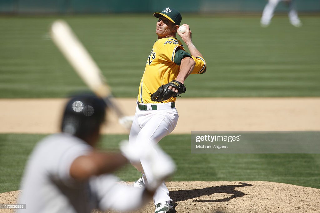 Grant Balfour #50 of the Oakland Athletics pitches during the game against the Chicago White Sox at O.co Coliseum on June 2, 2013 in Oakland, California. The Athletics defeated the White Sox 2-0.