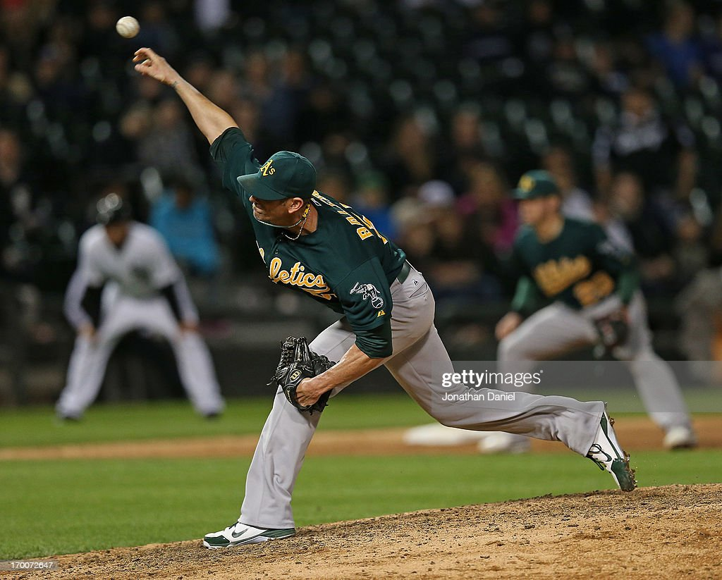 <a gi-track='captionPersonalityLinkClicked' href=/galleries/search?phrase=Grant+Balfour&family=editorial&specificpeople=833980 ng-click='$event.stopPropagation()'>Grant Balfour</a> #50 of the Oakland Athletics pitches in the 10th inning against the Chicago White Sox at U.S. Cellular Field on June 6, 2013 in Chicago, Illinois. The Athletics defeated the White Sox 5-4 in 10 innings.