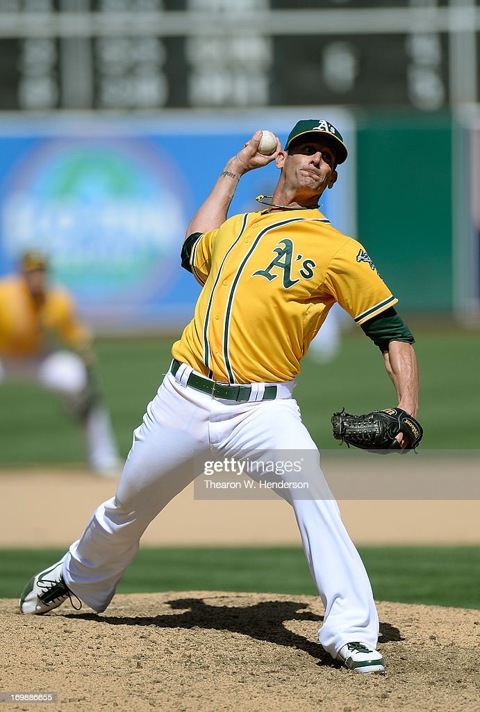 Grant Balfour #50 of the Oakland Athletics pitches in the ninth inning against the Chicago White Sox at O.co Coliseum on June 2, 2013 in Oakland, California. The Athletics defeated the White Sox 2-0.