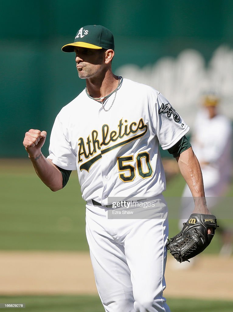Grant Balfour #50 of the Oakland Athletics reacts after the Athletics beat the Houston Astros at O.co Coliseum on April 17, 2013 in Oakland, California.