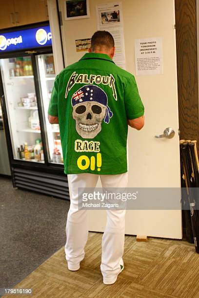 Grant Balfour of the Oakland Athletics stands in the clubhouse prior to the game against the Houston Astros at Oco Coliseum on August 13 2013 in...