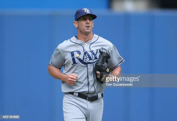 Grant Balfour of the Tampa Bay Rays enters the game in the seventh inning during MLB game action against the Toronto Blue Jays on August 23 2014 at...