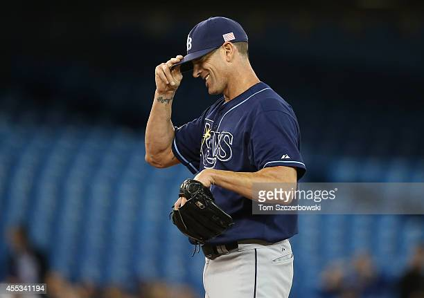 Grant Balfour of the Tampa Bay Rays in the ninth inning during MLB game action against the Toronto Blue Jays on September 12 2014 at Rogers Centre in...