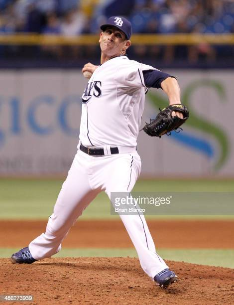 Grant Balfour of the Tampa Bay Rays pitches against the New York Yankees on April 17 2014 at Tropicana Field in St Petersburg Florida