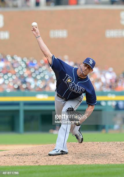 Grant Balfour of the Tampa Bay Rays pitches during the game against the Detroit Tigers at Comerica Park on July 5 2014 in Detroit Michigan The Rays...