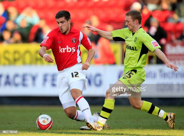 Grant Basey of Charlton Athletic and Craig Curran of Tranmere Rovers in action during the Coca Cola League One match between Charlton Athletic and...