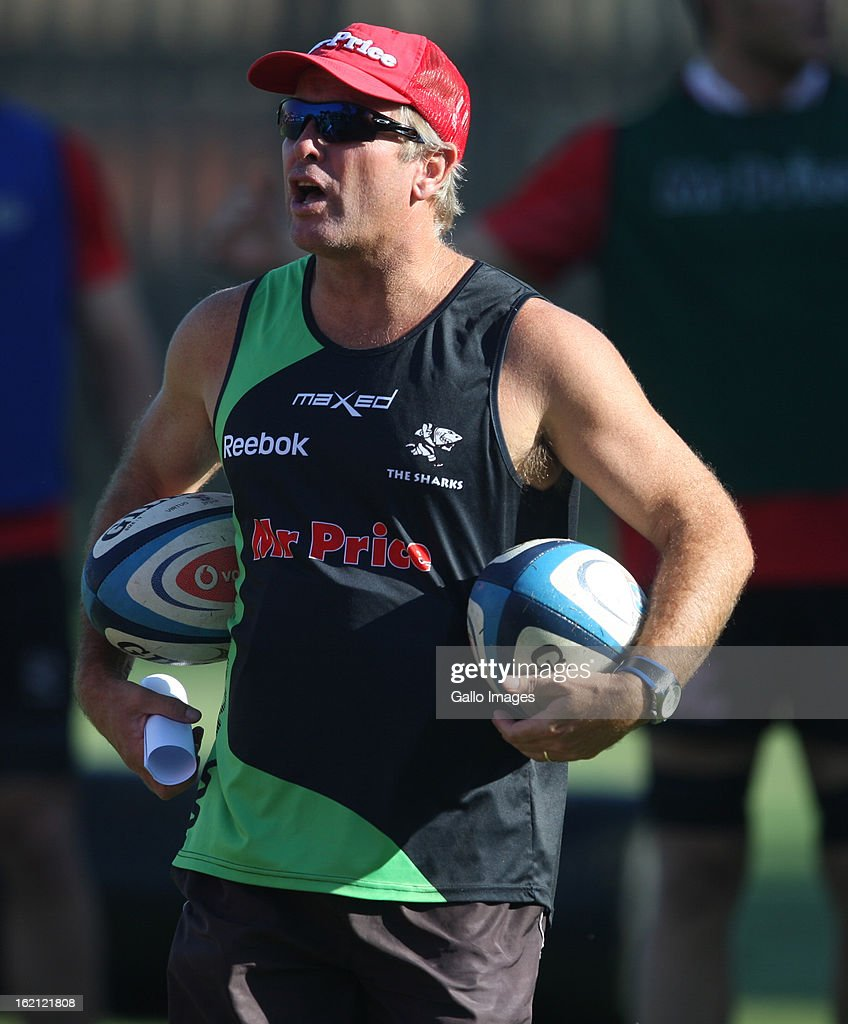 Grant Bashford Assistant Coach during The Sharks training session at Kings Park on February 19, 2013 in Durban, South Africa.