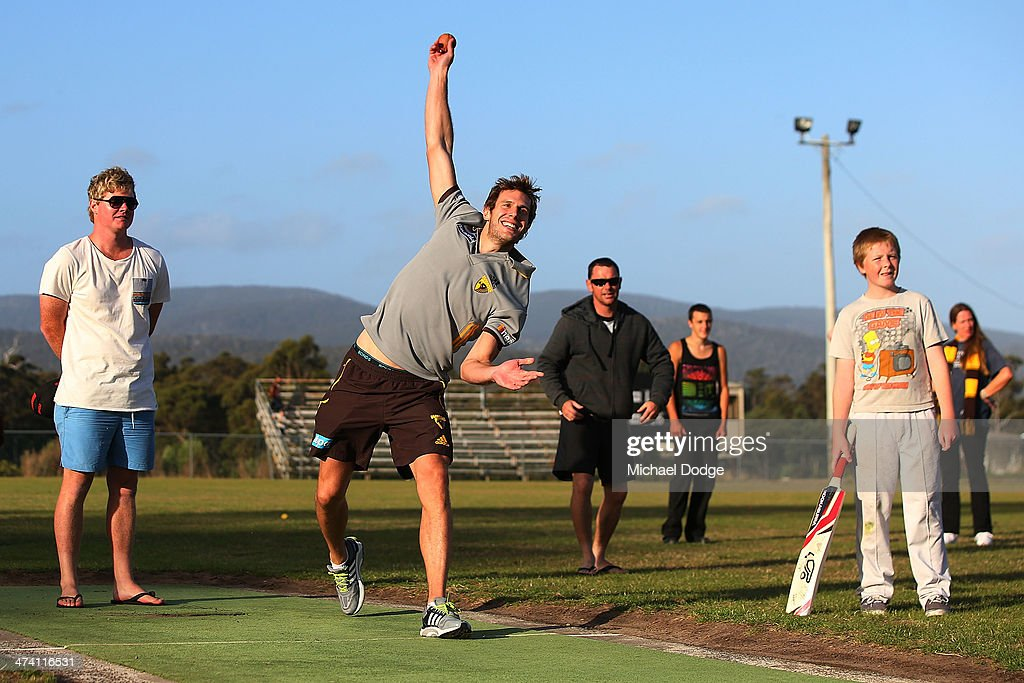 <a gi-track='captionPersonalityLinkClicked' href=/galleries/search?phrase=Grant+Birchall&family=editorial&specificpeople=762728 ng-click='$event.stopPropagation()'>Grant Birchall</a> in a game of cricket with members of the Port Arthur Cricket Club during the Hawthorn Hawks AFL Community Camp on February 22, 2014 in Port Arthur, Australia.