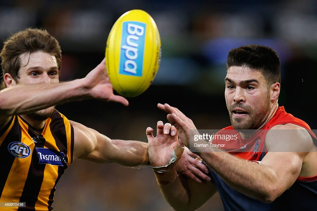 Grant Birchall of the Hawks and Chris Dawes of the Demons compete during the round 20 AFL match between the Hawthorn Hawks and the Melbourne Demons at Melbourne Cricket Ground on August 9, 2014 in Melbourne, Australia.