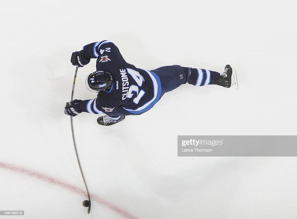 Grant Clitsome of the Winnipeg Jets gets set to take a shot during the pregame warm up prior to NHL action against the Dallas Stars at the MTS Centre...