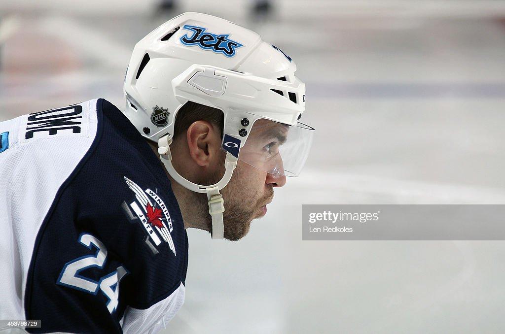 Grant Clitsome of the Winnipeg Jets looks on against the Philadelphia Flyers on November 29 2013 at the Wells Fargo Center in Philadelphia...