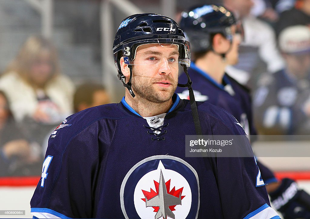 Grant Clitsome of the Winnipeg Jets looks on during the pregame warm up prior to NHL action against the Philadelphia Flyers on December 21 2014 at...