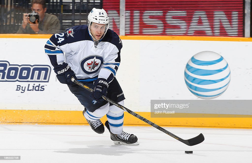 Grant Clitsome of the Winnipeg Jets skates against the Nashville Predators at Bridgestone Arena on October 24 2013 in Nashville Tennessee