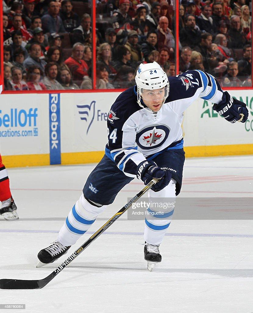 Grant Clitsome of the Winnipeg Jets skates against the Ottawa Senators at Canadian Tire Centre on November 8 2014 in Ottawa Ontario Canada