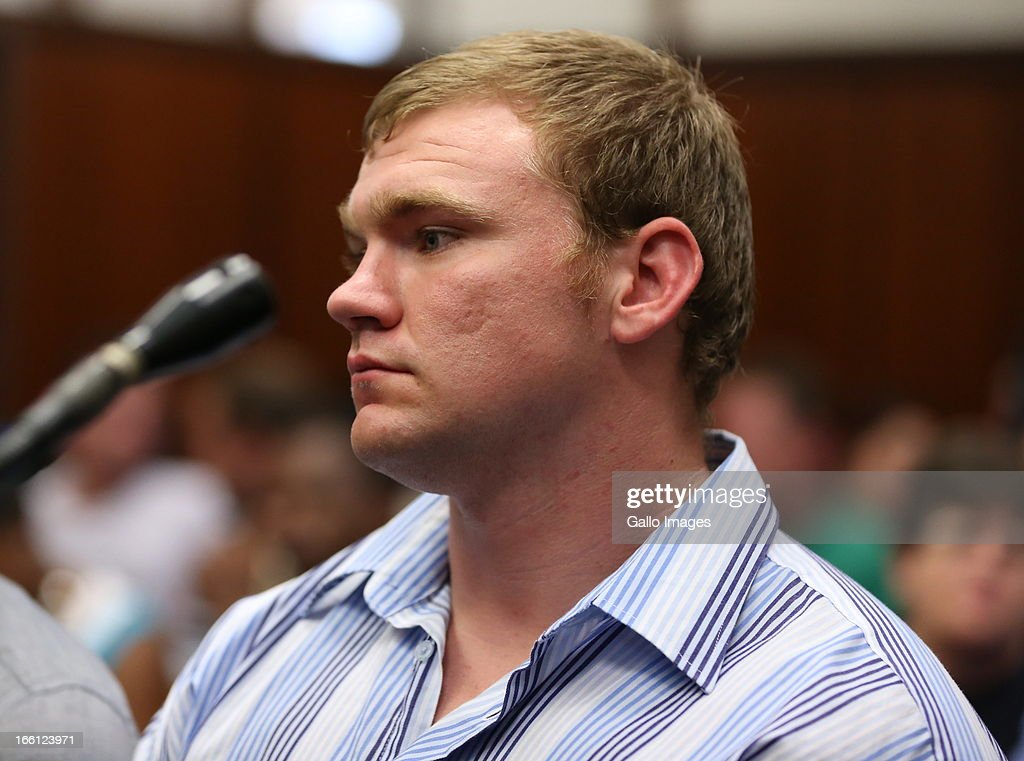 Grant Cramer appears in the Durban Magistrate court for his bail application on April 8, 2013 in Durban, South Africa. Cramer is one of the accused charged with the murder of a British Royal Marine, Brett Williams. Williams was beaten to death at a Super XV Match at Durban Stadium.