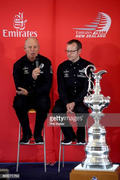 Grant Dalton and Dan Bernasconi of Team New Zealand during the announcement of the Protocol Rules for the 36th America's Cup at the Royal New Zealand...