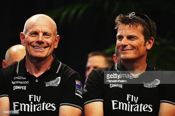 Grant Dalton and Dean Barker of Team New Zealand are welcomed during their official welcome home function at Shed 10 on October 4 2013 in Auckland...