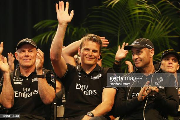 Grant Dalton Dean Barker and Kevin Shoebridge of Team New Zealand are welcomed during their official welcome home function at Shed 10 on October 4...