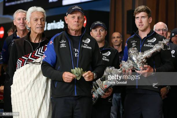 Grant Dalton Helmsman Peter Burling and Team New Zealand as welcomed as they arrive at Auckland International Airport with the Americas Cup Trophy on...